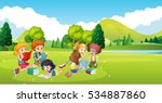 children working and reading... | Shutterstock .eps vector #534887860