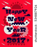 greeting card happy new year.... | Shutterstock .eps vector #534887926