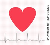 ecg graph on grid paper with... | Shutterstock .eps vector #534895333