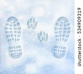 human and dog footprints on... | Shutterstock .eps vector #534909319