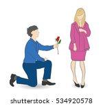 a man gives a woman a rose... | Shutterstock .eps vector #534920578