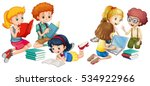 kids reading books and working... | Shutterstock .eps vector #534922966