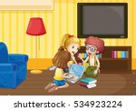 three kids working in group at... | Shutterstock .eps vector #534923224