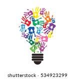 Colorful Handprint In Lightbulb ...
