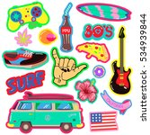 pop art fashion patches pins ... | Shutterstock .eps vector #534939844