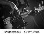 Closeup Photo Of Bass Guitar...