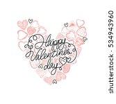 vector valentines day heart... | Shutterstock .eps vector #534943960