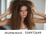 damaged hair. beautiful sad...   Shutterstock . vector #534972649