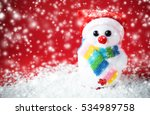 snow santa on red background... | Shutterstock . vector #534989758