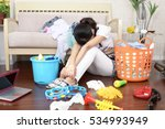 tired asian housewife | Shutterstock . vector #534993949