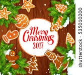 merry christmas 2017 poster of... | Shutterstock . vector #535010200
