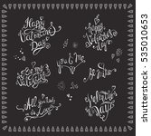 valentines day. lettering set . ... | Shutterstock .eps vector #535010653