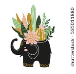 hand drawn tropical house... | Shutterstock .eps vector #535011880