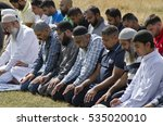 Small photo of Muslims praying in Hyde Park, after protesting against Islamophobia and racial incitement, London, UK, 21 May 2016