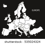 europe with countries map black ... | Shutterstock .eps vector #535024324