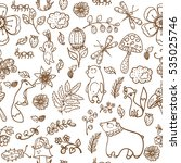 forest animals pattern  forest... | Shutterstock .eps vector #535025746
