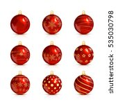 Set Of Decorative Red Christma...