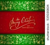 golden christmas decorative... | Shutterstock . vector #535030834