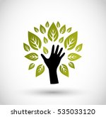 hand with leaves icon vector  | Shutterstock .eps vector #535033120