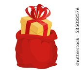 santa bag with gift. red big... | Shutterstock .eps vector #535033576
