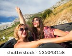 two girls holding hands and... | Shutterstock . vector #535043158