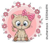 greeting card kitten with...   Shutterstock .eps vector #535046494
