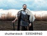 formidable man warrior in armor ... | Shutterstock . vector #535048960