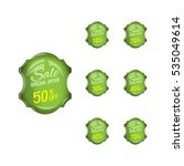 glossy green price sale tags... | Shutterstock .eps vector #535049614