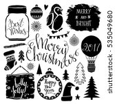christmas and new year hand... | Shutterstock .eps vector #535049680