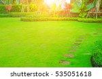 pathway in garden green lawns... | Shutterstock . vector #535051618