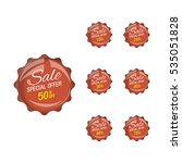 glossy brown price sale tags... | Shutterstock .eps vector #535051828