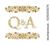 q and a vintage initials logo... | Shutterstock .eps vector #535055074