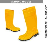 Safety Yellow Boots. Vector Illustration - stock vector