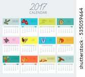monthly calendar of the 2017... | Shutterstock .eps vector #535059664