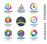 set of abstract rainbow symbols | Shutterstock .eps vector #535060984