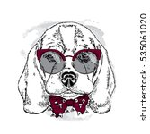 dog with glasses and tie.... | Shutterstock .eps vector #535061020
