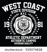 west coast state division sport ... | Shutterstock .eps vector #535074838