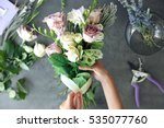 female florist making beautiful ... | Shutterstock . vector #535077760