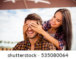 young smiling woman closing... | Shutterstock . vector #535080064