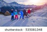 group of skiers children watch... | Shutterstock . vector #535081348