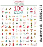 Christmas, New Year holidays icon big set. Flat style collection. Vector illustration