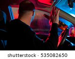 drunk driver sitting in car... | Shutterstock . vector #535082650