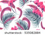 tropical flowers  palm leaves ... | Shutterstock .eps vector #535082884