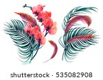 Stock vector tropical flowers palm leaves orchid feathers vector exotic illustrations floral elements 535082908
