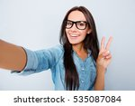 happy woman in glasses with... | Shutterstock . vector #535087084