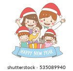 happy family wear christmas... | Shutterstock .eps vector #535089940