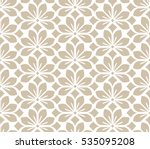 Stock vector seamless abstract floral pattern beige and white vector background geometric leaf ornament 535095208