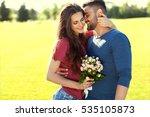 young couple in love walking in ... | Shutterstock . vector #535105873