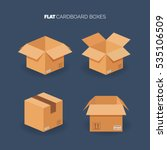 Vector Set. Flat Carton Box....
