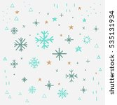 snowflake and stars winter set... | Shutterstock .eps vector #535131934